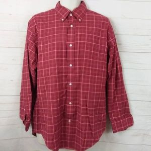 Lands End Red Checked Button Down Shirt 16.5